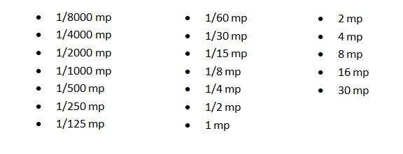 záridő táblázat, záridő értékek
